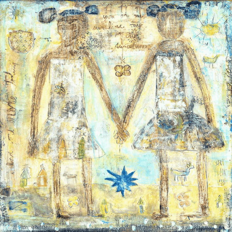 This unique art print features two sisters holding hands.