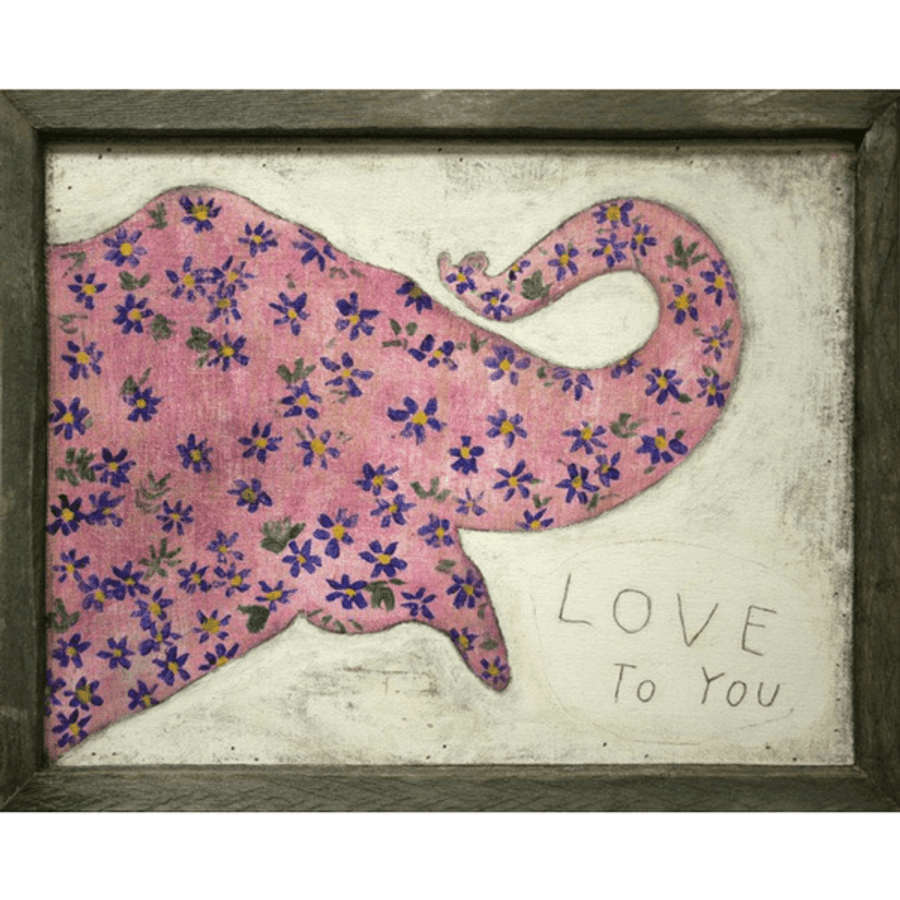 Pink Elephant art print with greywood frame
