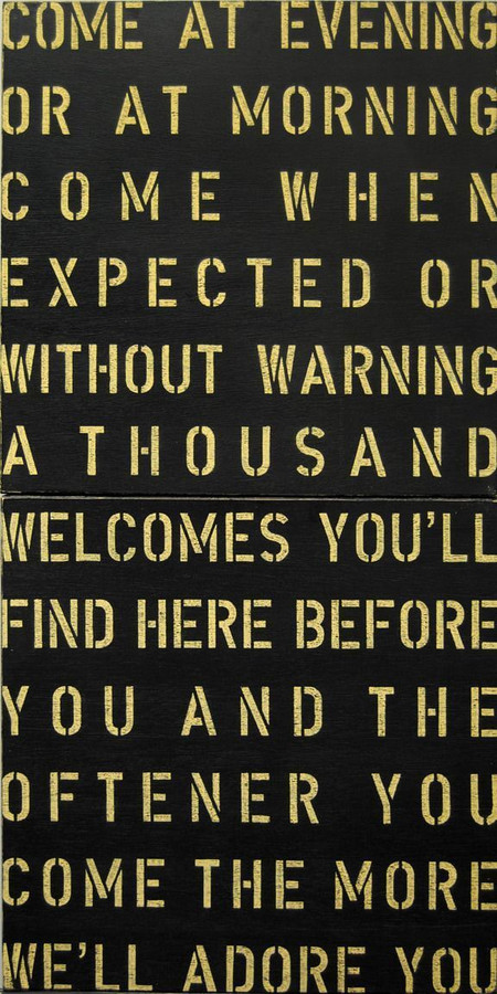 Antique Sign - Come at Evening in black with cream font