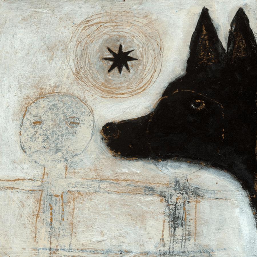 Dog Head art print with gallery wrap frame