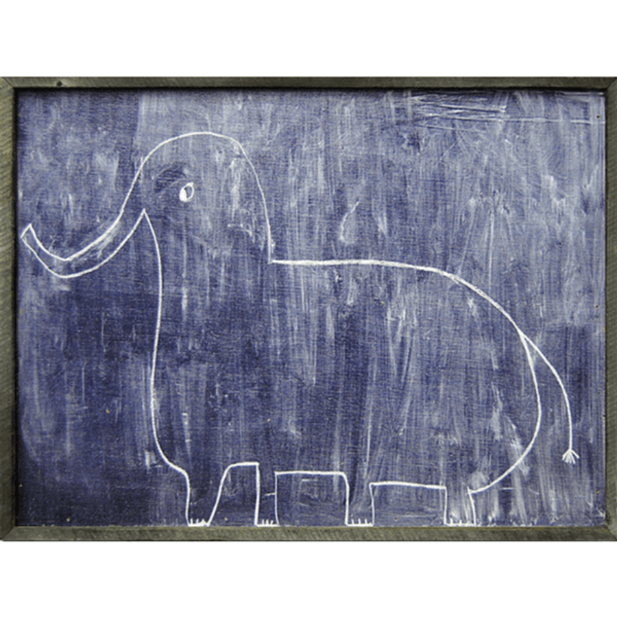 simple art print features a dark background and a line drawing of an elephant.