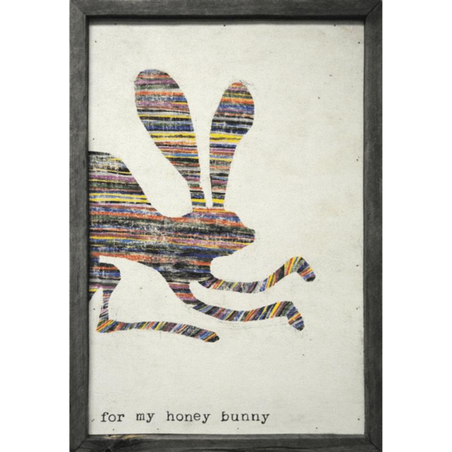 multicolored bunny art print