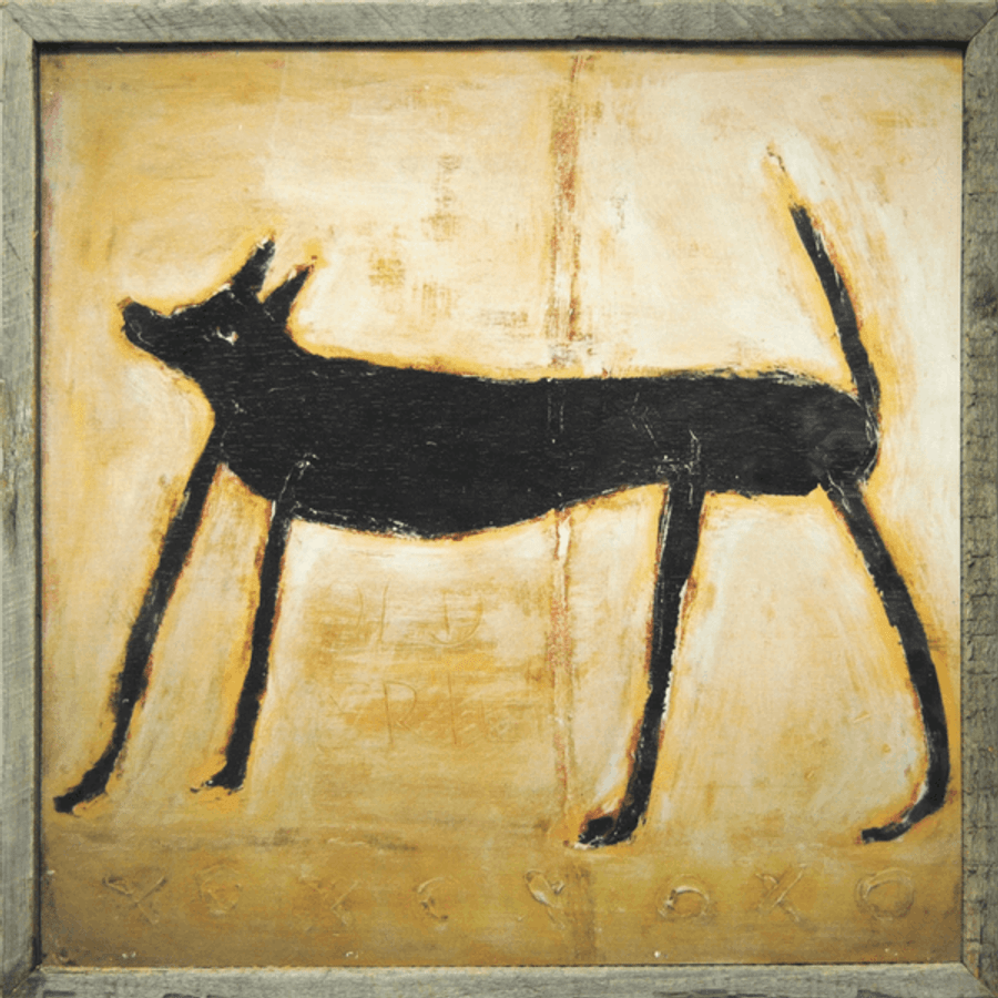 This simple art print features a light background with a small black dog.