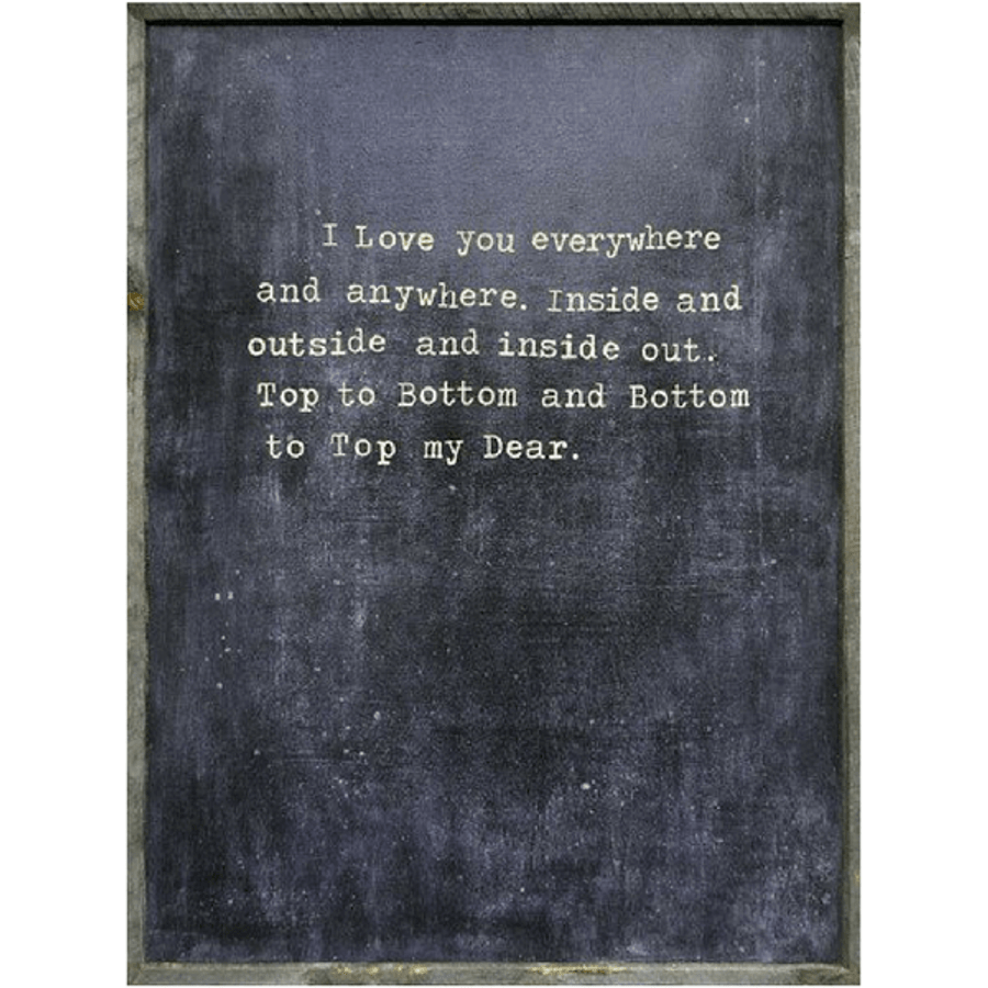 """""""I love you everywhere and anywhere. Inside and outside and inside out. Top to bottom and bottom to top my dear."""""""