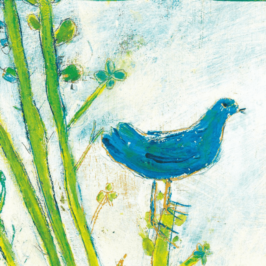 blue bird with blue sky and green leaves