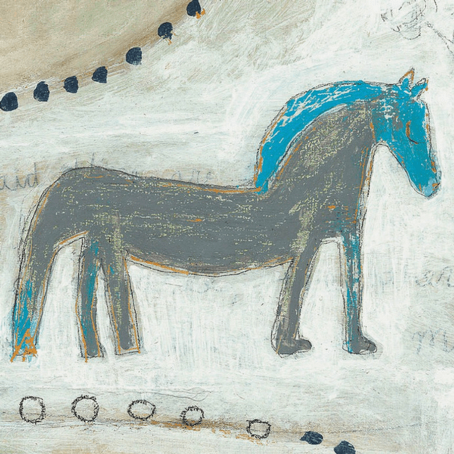 grey horse with blue mane on a cream background