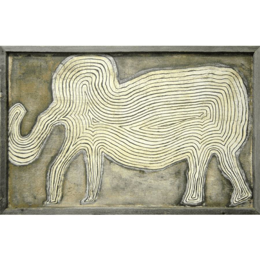 art print features a cream colored elephant against a darker cream background