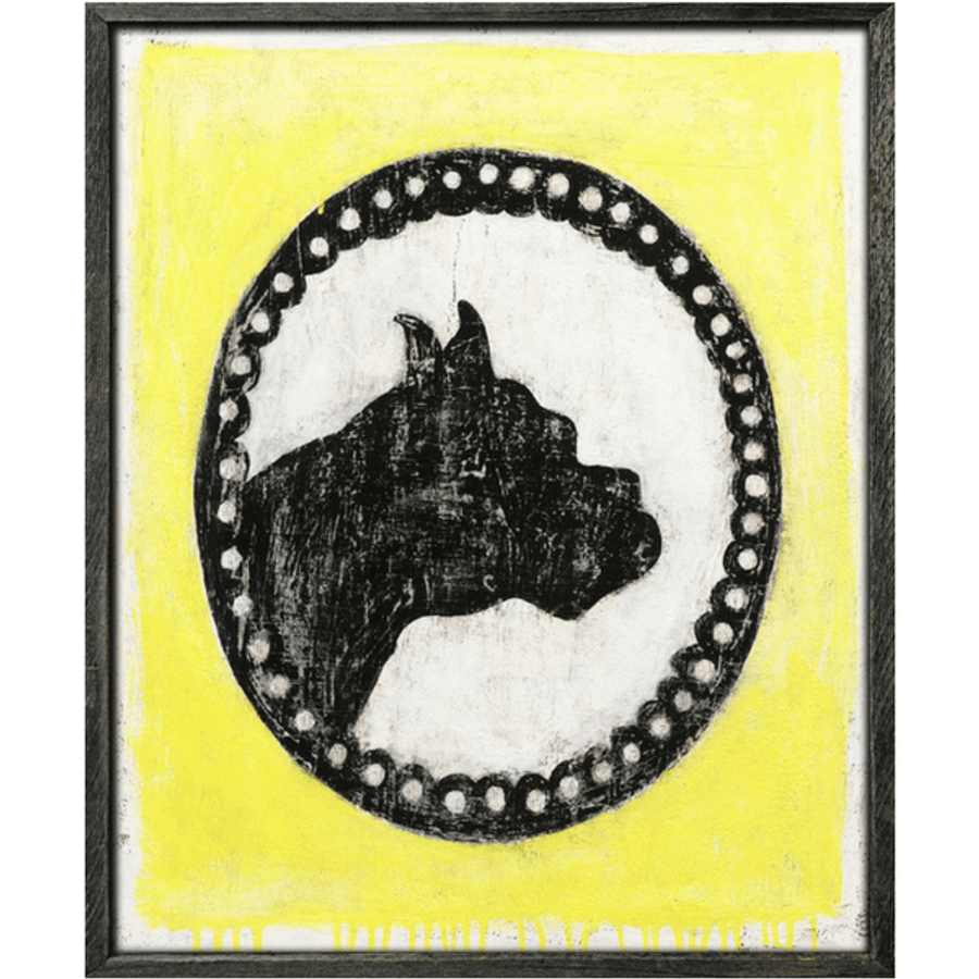 Bright yellow background surrounds a dogsilhouette.