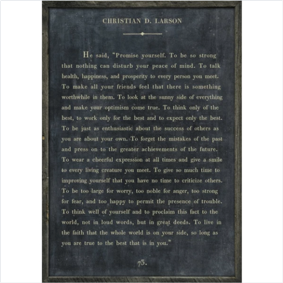 christian larson art print - charcoal with grey wood frame