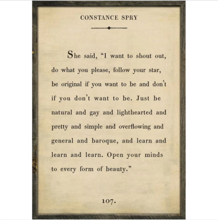constance spry art print - cream with grey wood frame