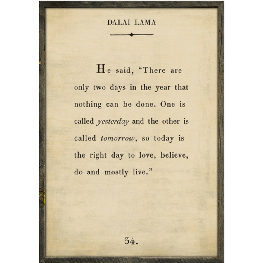 dalai lama art print - cream with grey wood frame
