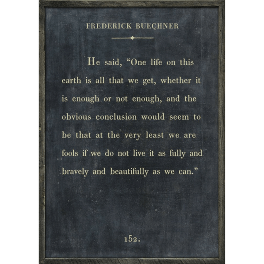 Frederick Buechner art print - charcoal with grey wood frame