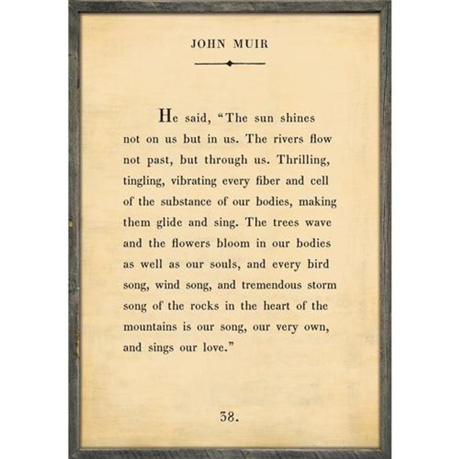 john muir art print - cream with grey wood frame