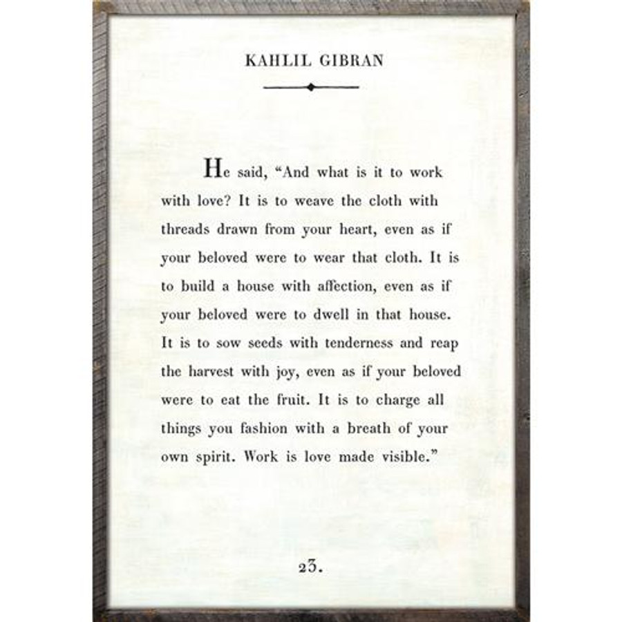 kahlil gibran art print - white with grey wood frame