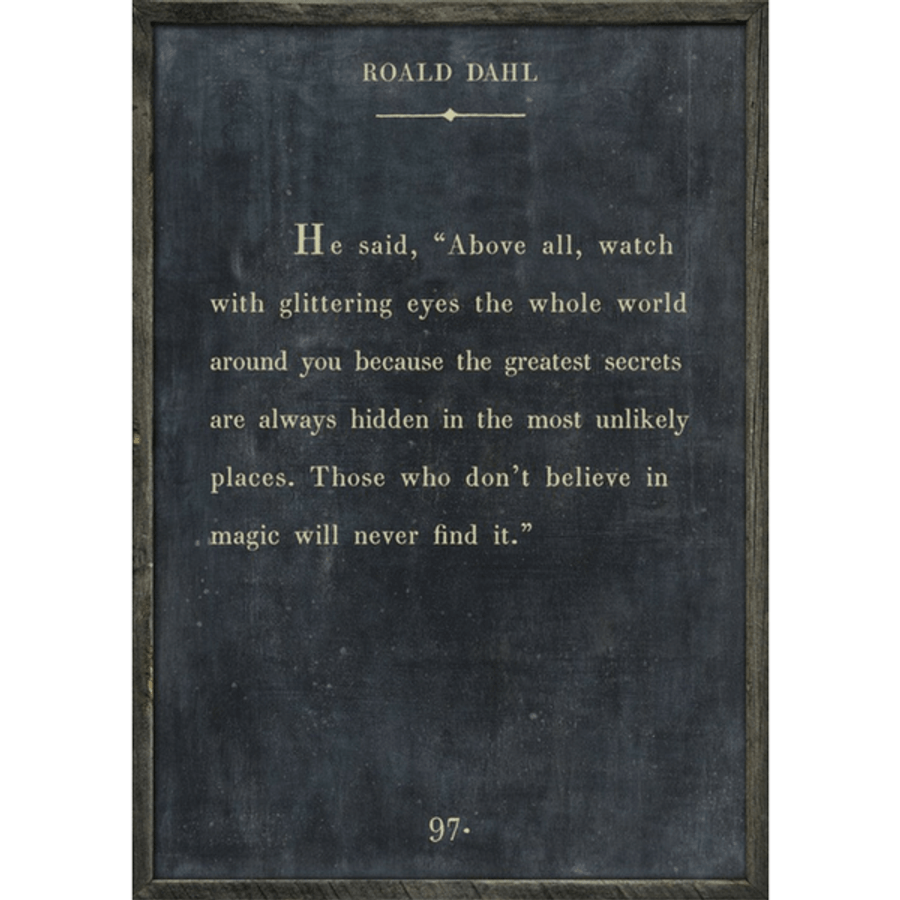 roald dahl art print - charcoal with grey wood frame