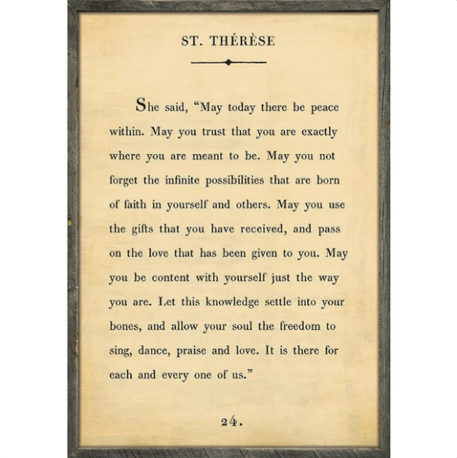 st therese art print - cream with grey wood frame
