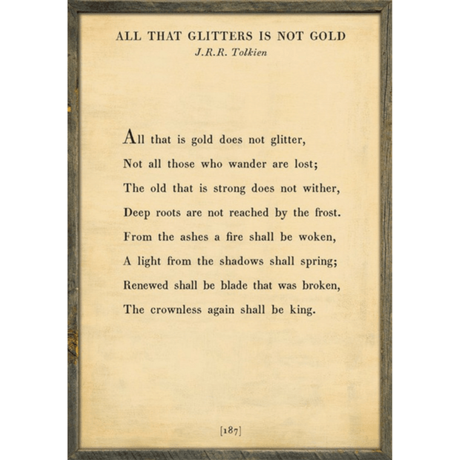 all that glitters art print - cream with grey wood frame