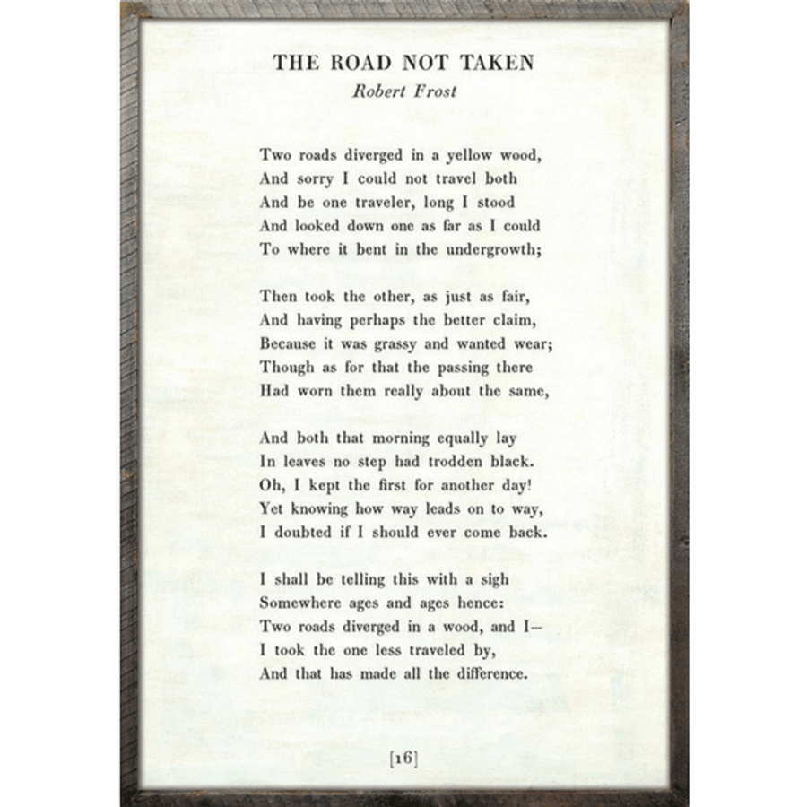 the road not taken art print - white with greywood frame