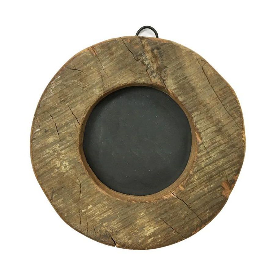 round natural wooden picture frame