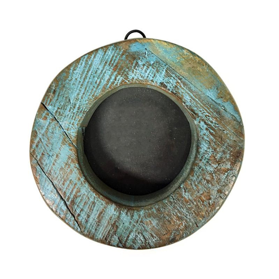 round blue wooden picture frame