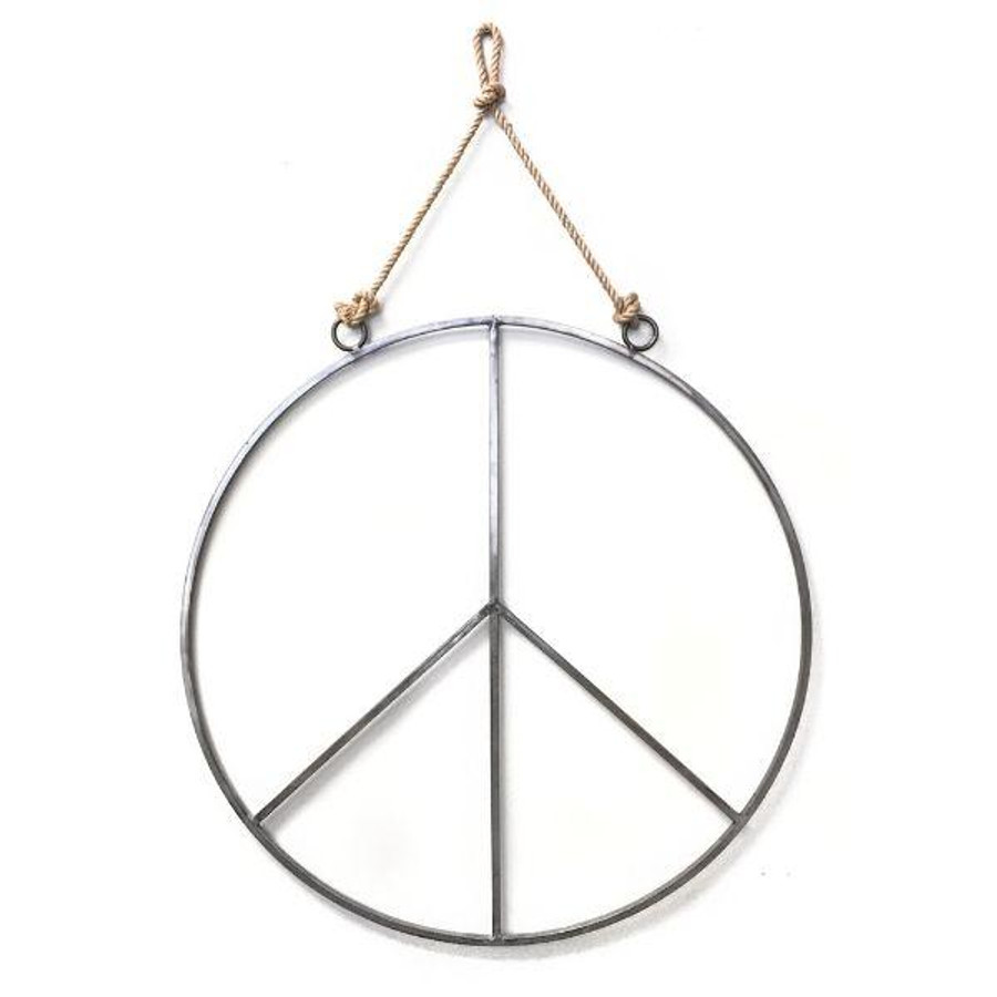 metal and jute peace sign