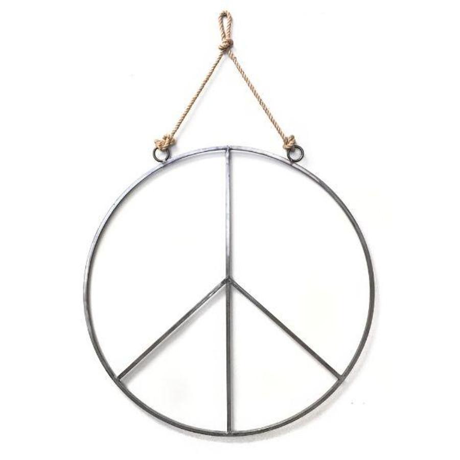 Hanging Metal & Jute Peace Sign
