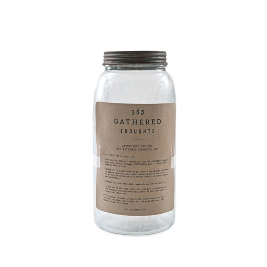 glass gathered thoughts jar