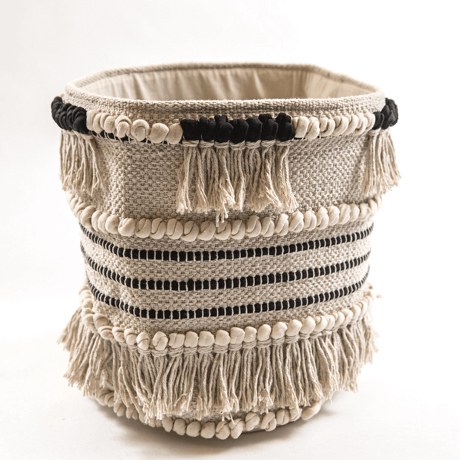 Black and Cream Fringe Fabric Basket