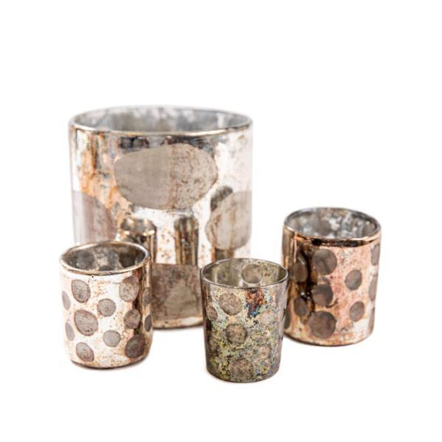 mercury glass votives with polka dot design