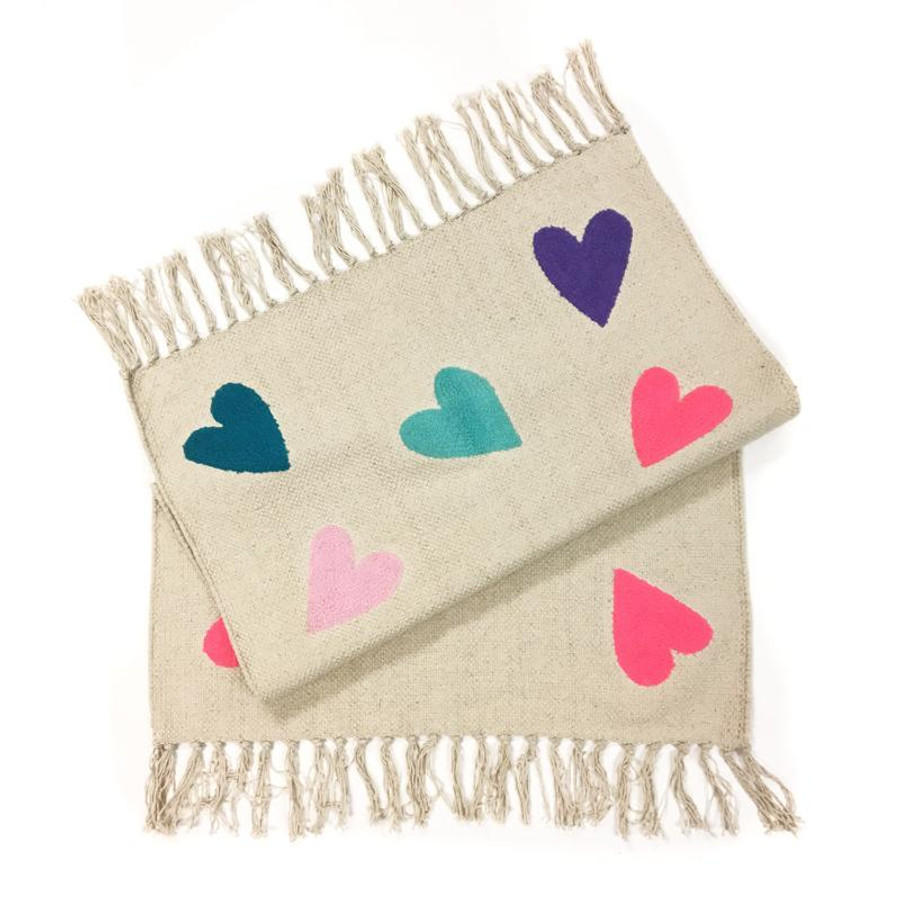 Heart Embroidered Cotton Rug