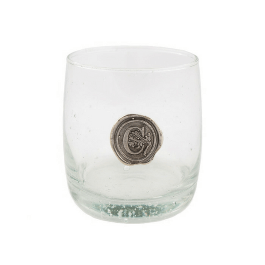 pewter initial double old fashion glass