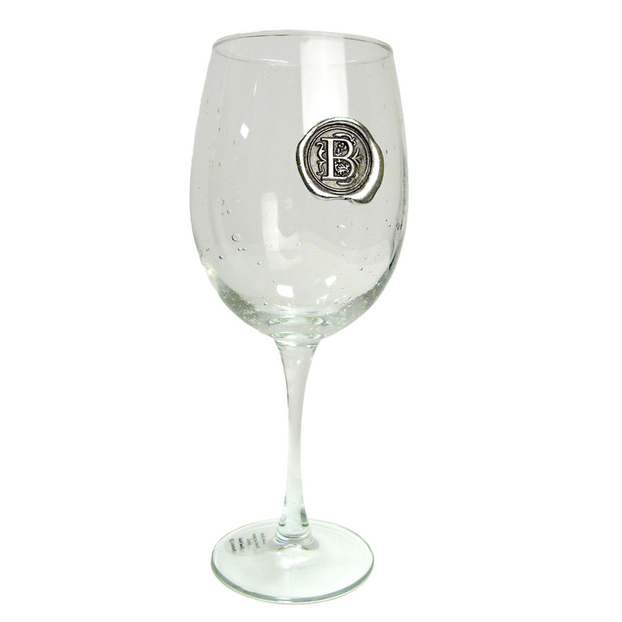 Pewter Initial Wine Glass