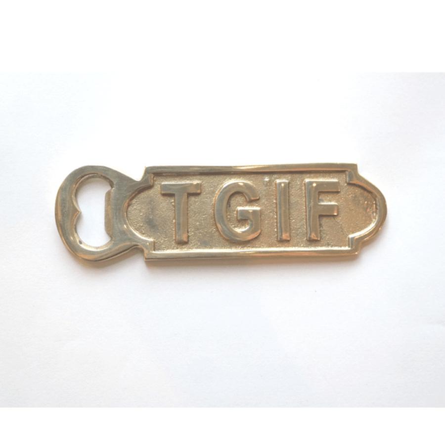 "gold bottle opener - ""TGIF"""