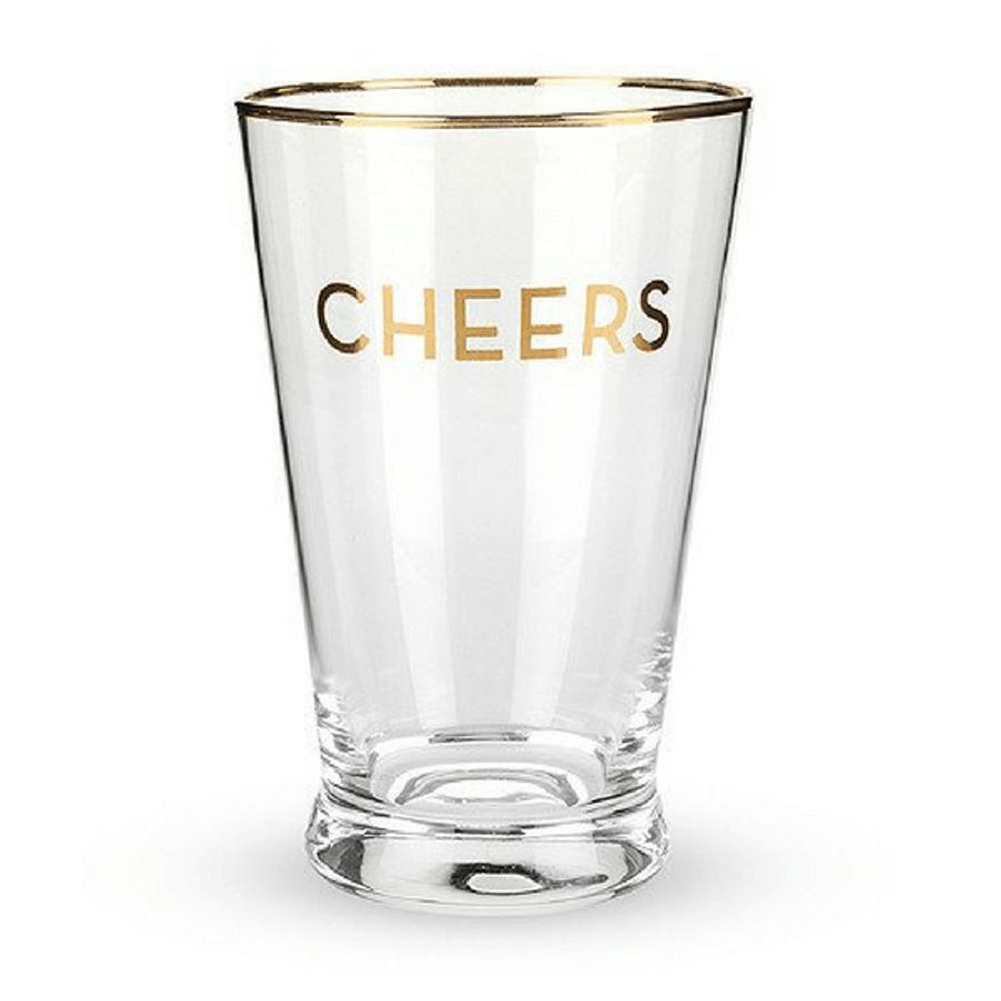 "gold rim ""cheers"" pint glass"