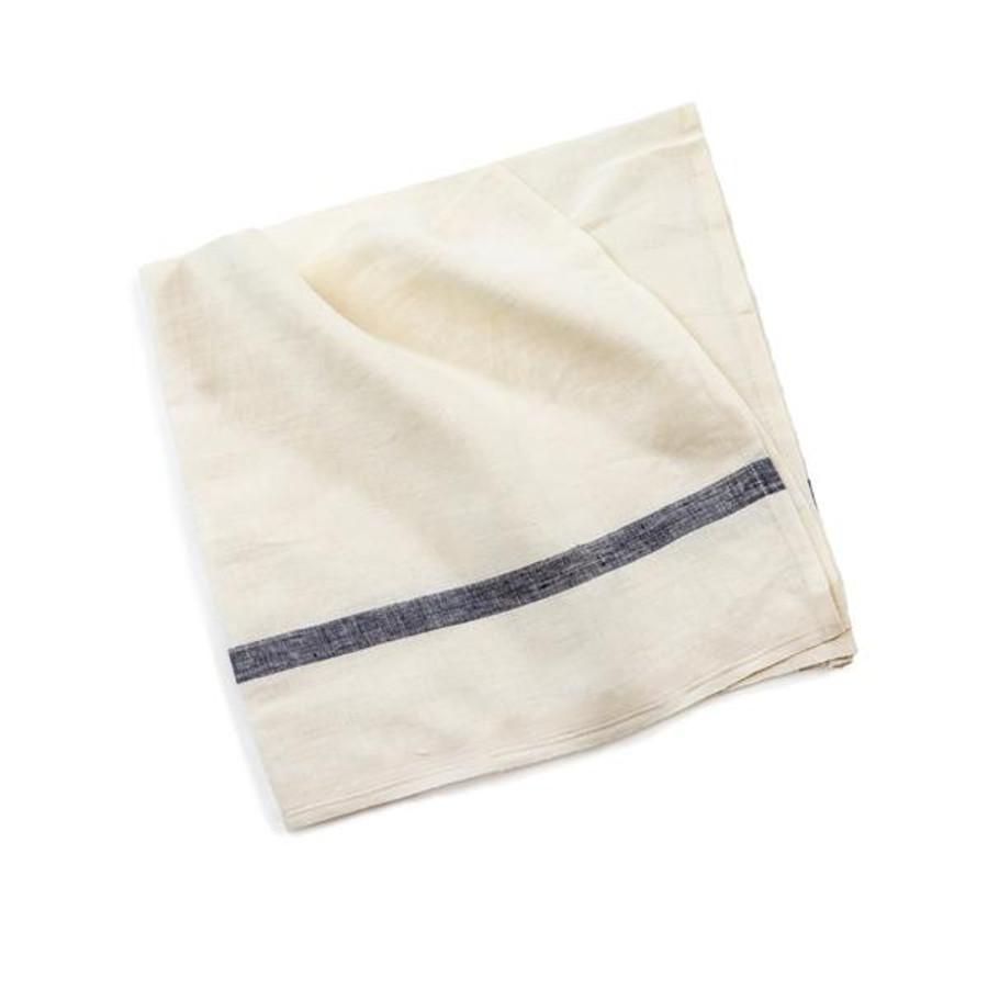 White with Blue Stripe Linen Napkin