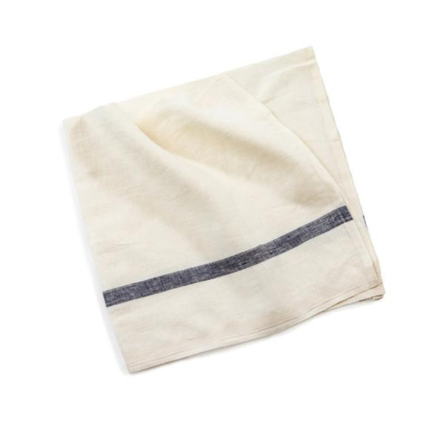 white with a blue stripe linen napkin