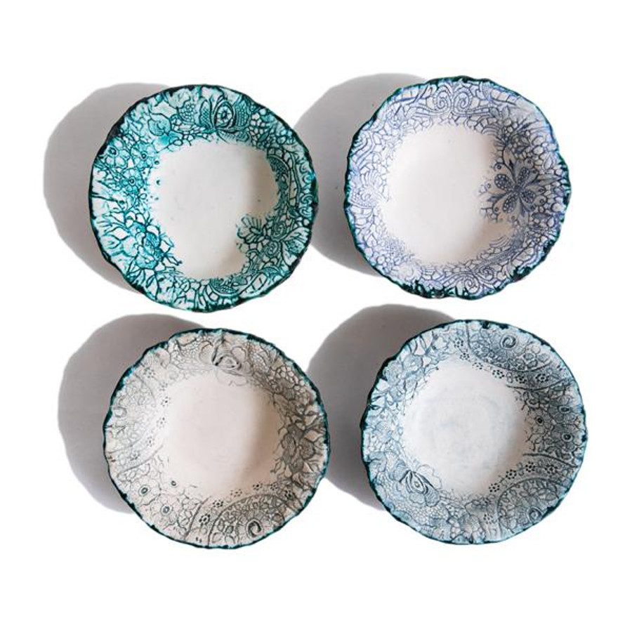 heirloom lace handmade ceramic bowl