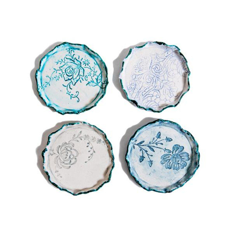 heirloom lace handmade ceramic coasters