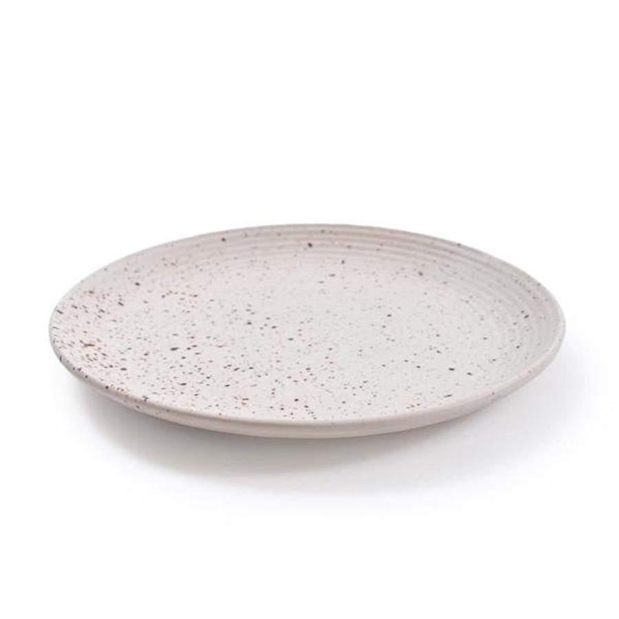 ribbed speckled ceramic plate