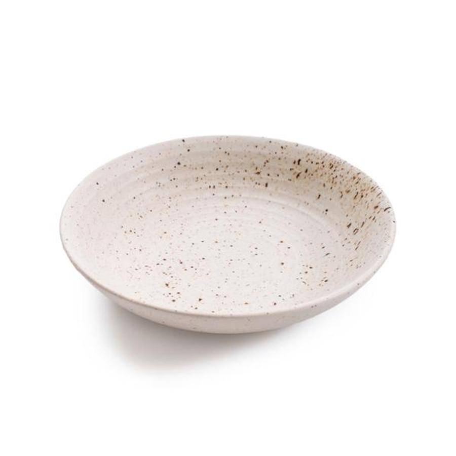 ribbed speckled ceramic pasta bowl