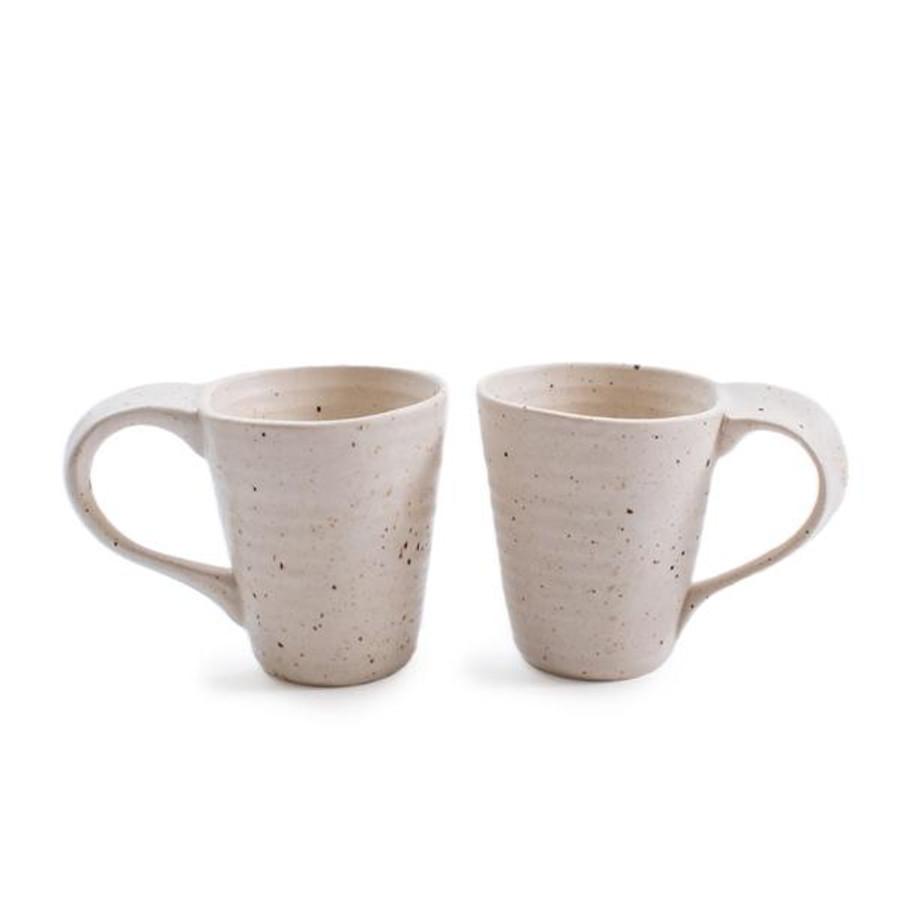 ribbed speckled ceramics mugs