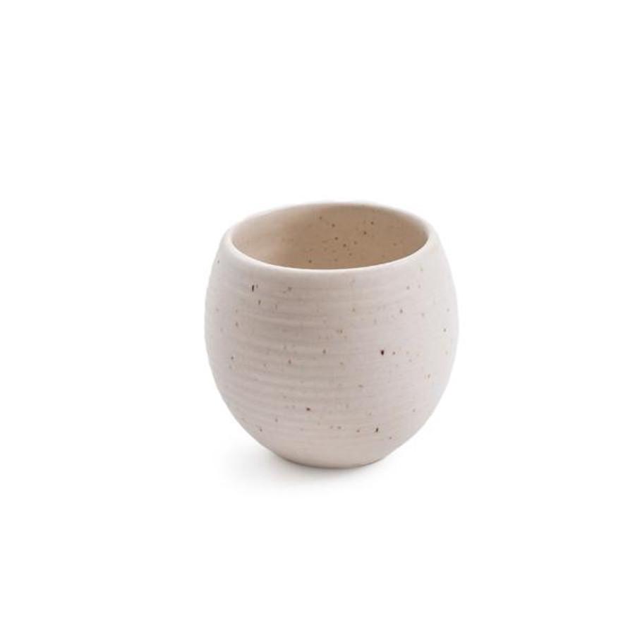 ribbed speckled ceramic pot