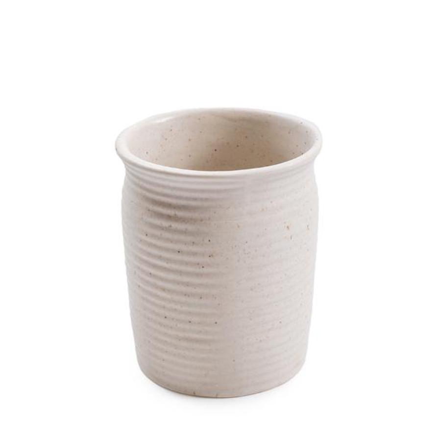 ribbed speckled ceramic utensil jar