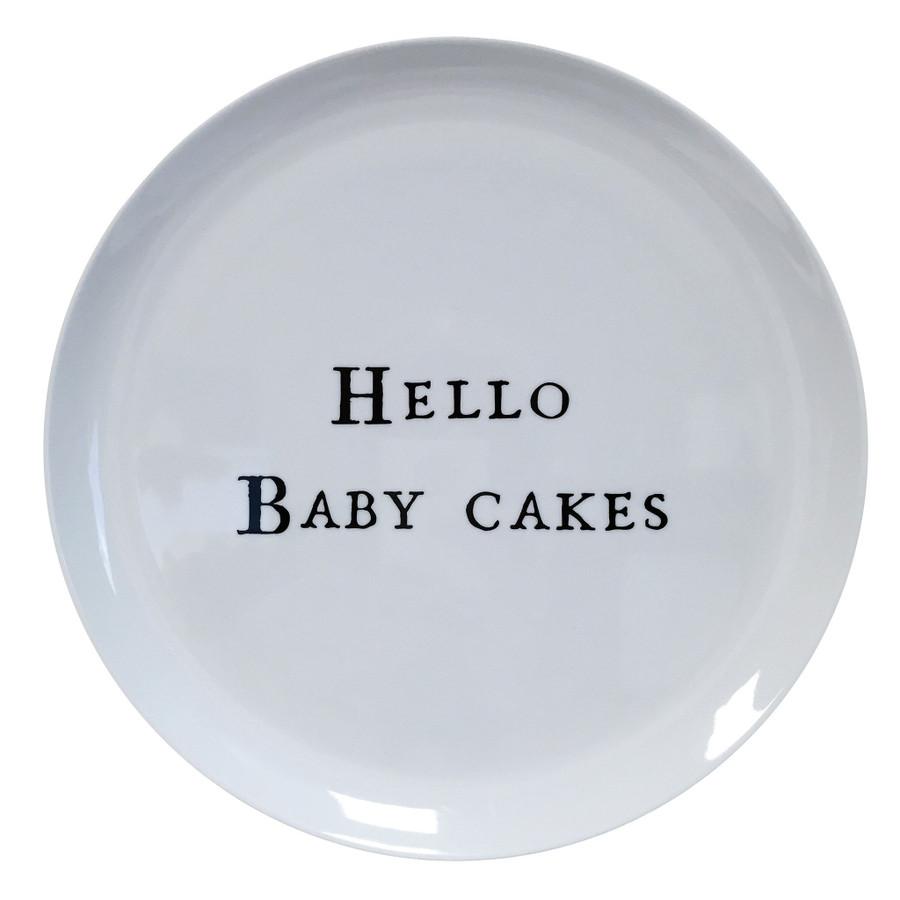 hello baby cake white melamine plate