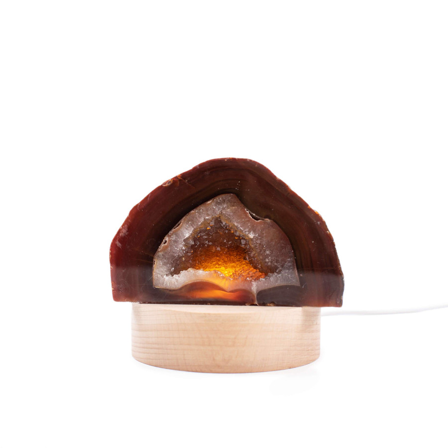 agate geode with usb led base