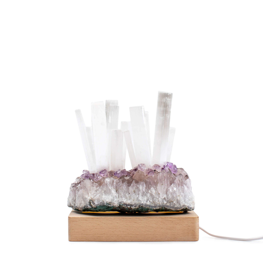 All Natural Amethyst Cluster and Selenite Stick Lamp with Usb Led Base