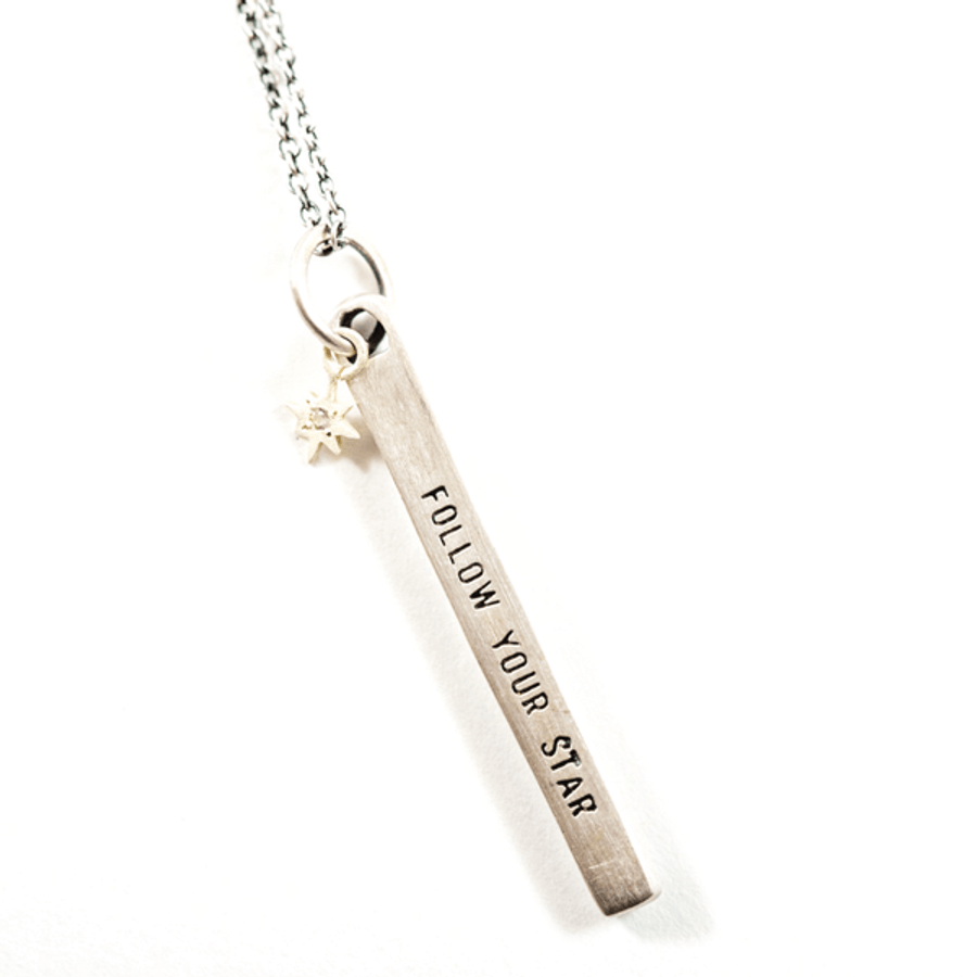 "sterling silver necklace with the quote ""follow your star"""