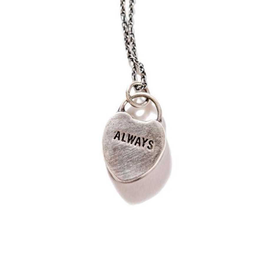 """sterling silver necklace with a heart pendant with """"always"""" engraved"""