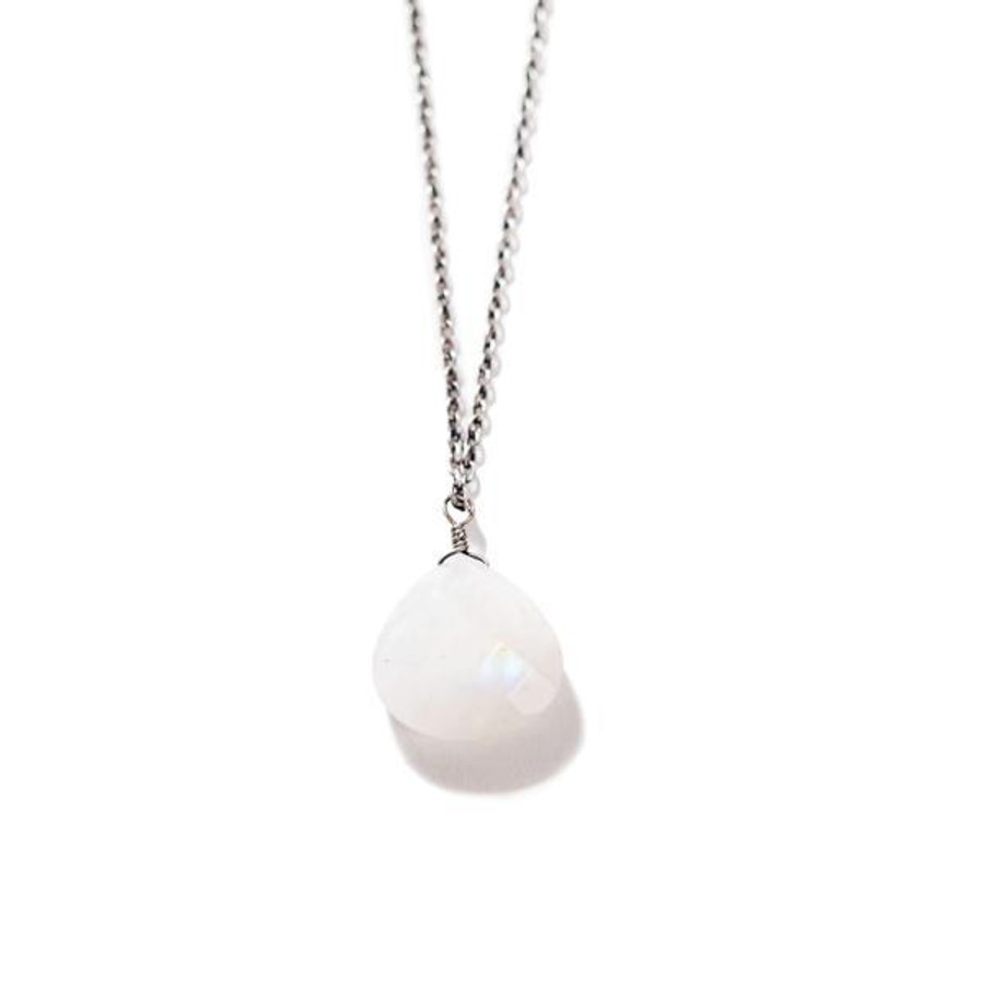 sterling silver necklace with rainbow moonstone pendant
