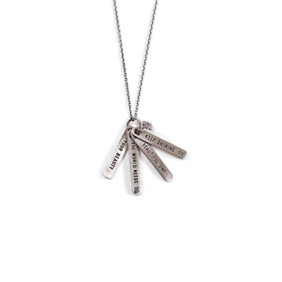 """sterling silver necklace with the quote """"keep shining beautiful one the world needs your beauty"""""""